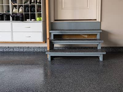 Garage Floor Coating with Steps