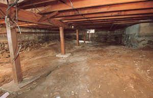 a wet, moldy crawl space in Bailey Lake, OH