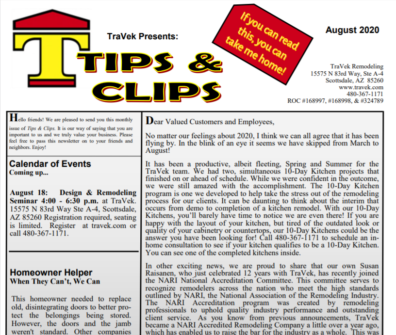 TraVek Inc Tips and Clips Newsletter August