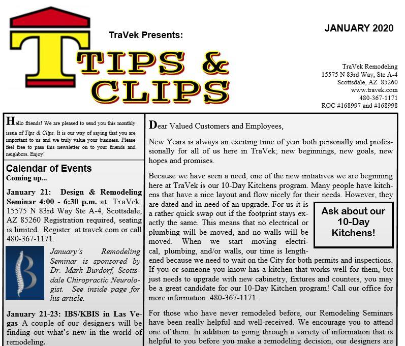 TraVek Inc Tips and Clips Newsletter January 2020