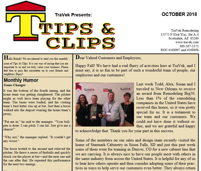 TraVek Inc Tips and Clips Newsletter October 2018