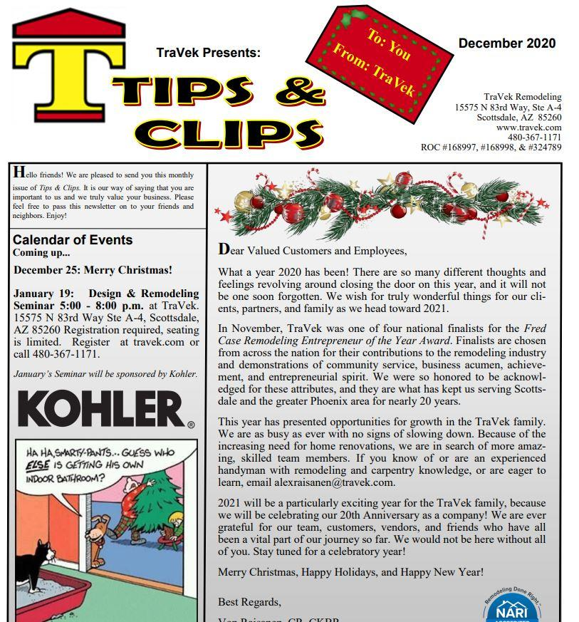 TraVek Inc Tips and Clips Newsletter December 2020