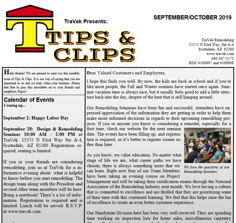 TraVek Inc Tips and Clips Newsletter September/October 2019