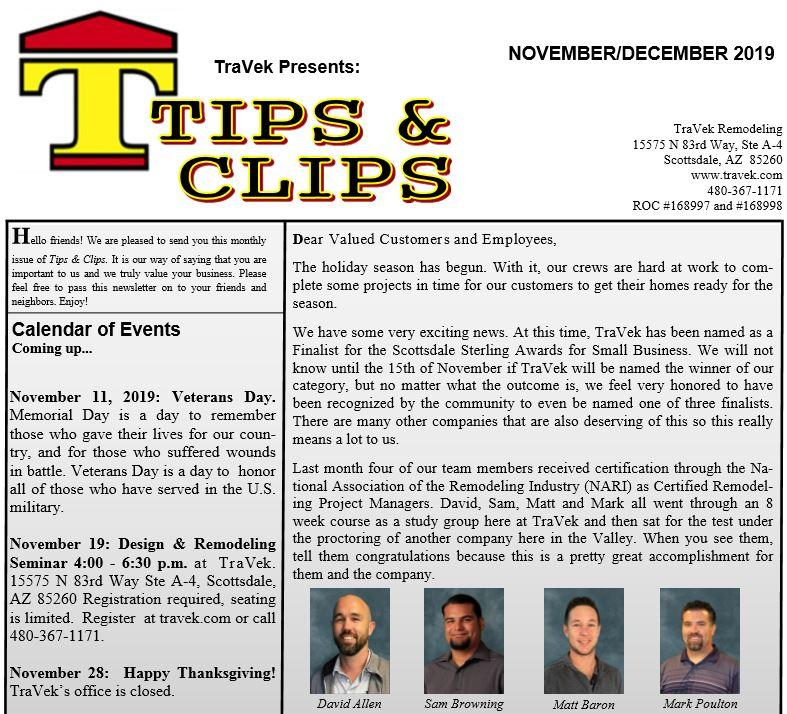 TraVek Inc Tips and Clips Newsletter November/December 2019