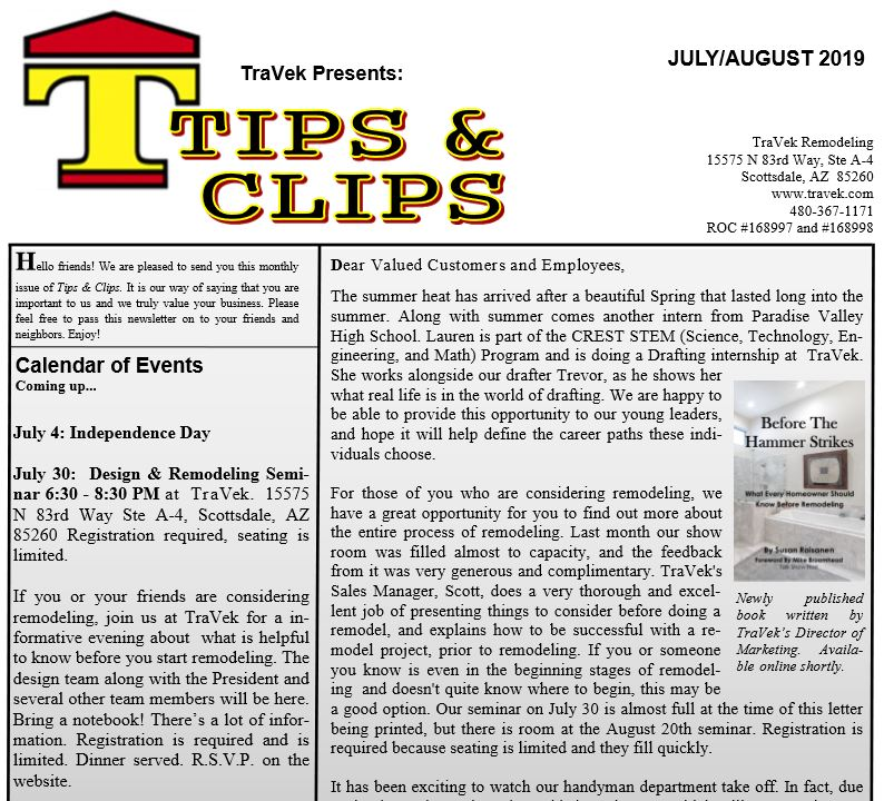 TraVek Inc Tips and Clips Newsletter July/August 2019