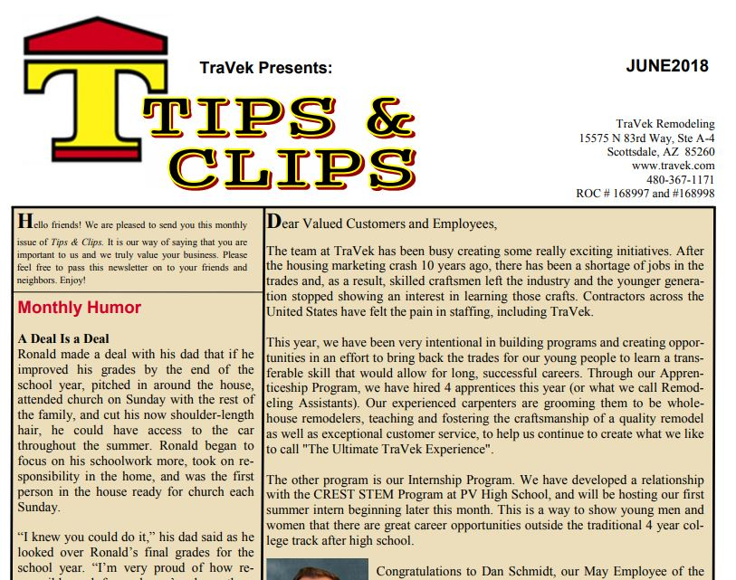 TraVek Inc Tips and Clips Newsletter May 2018