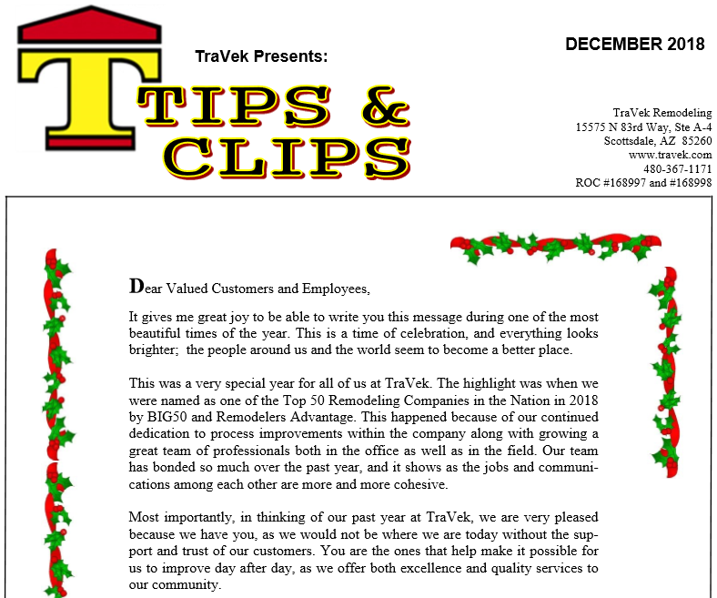TraVek Inc Tips and Clips Newsletter December 2018