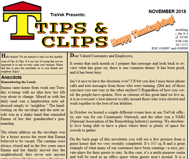 TraVek Inc Tips and Clips Newsletter November 2018