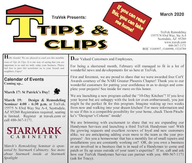 TraVek Inc Tips and Clips Newsletter March 2020