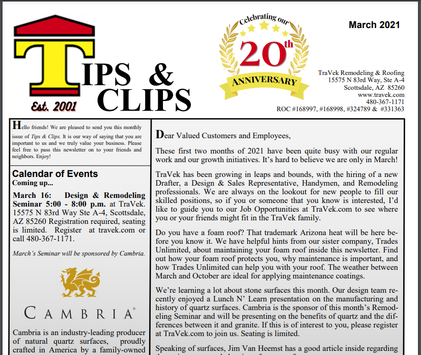 TraVek Inc Tips and Clips Newsletter March 2021