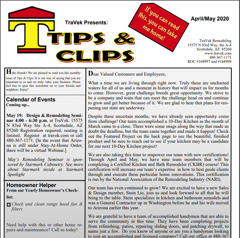 TraVek Inc Tips and Clips Newsletter April / May 2020