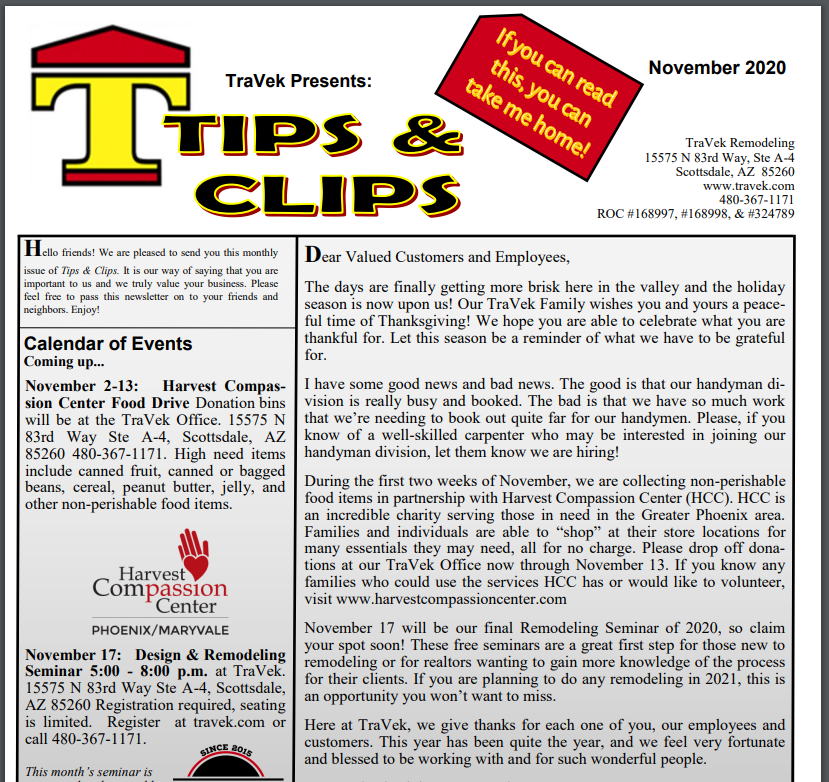 TraVek Inc Tips and Clips Newsletter November 2020