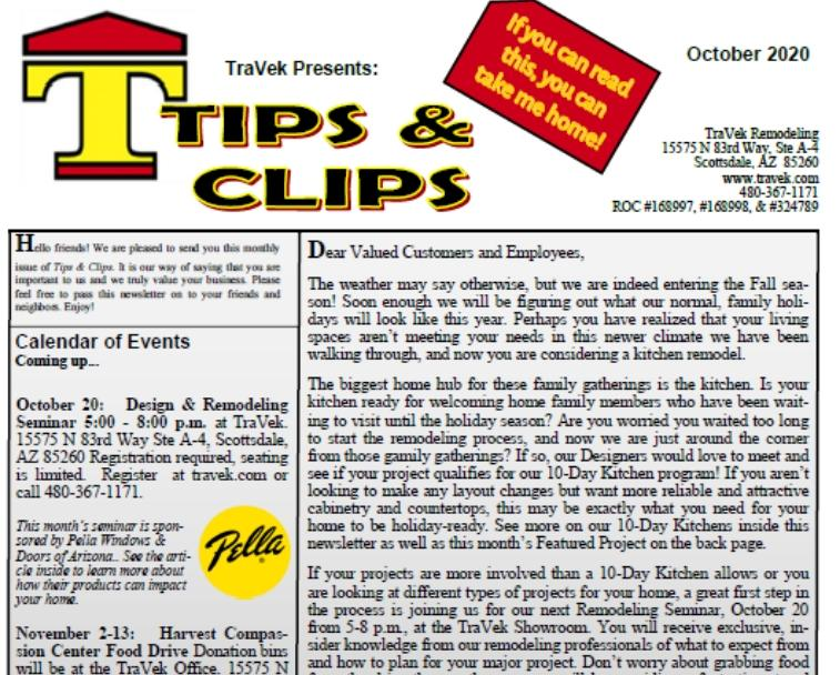 TraVek Inc Tips and Clips Newsletter October 2020