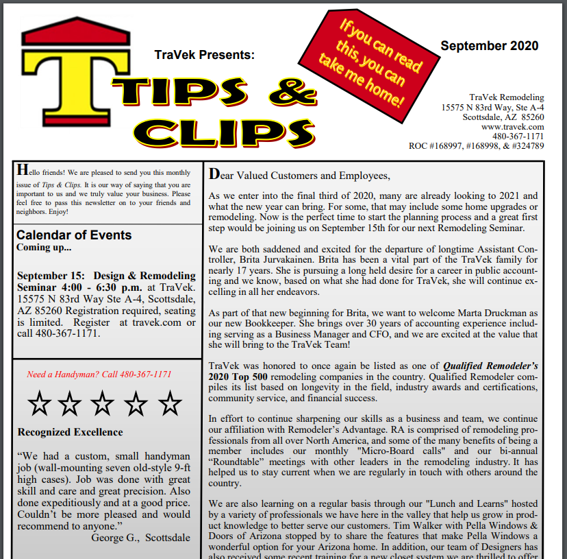 TraVek Inc Tips and Clips Newsletter September 2020