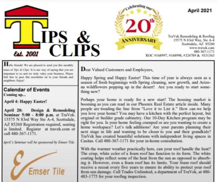 TraVek Inc Tips and Clips Newsletter April 2021