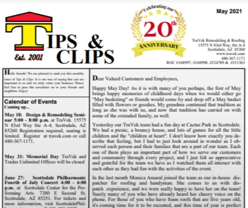 TraVek Inc Tips and Clips Newsletter May 2021