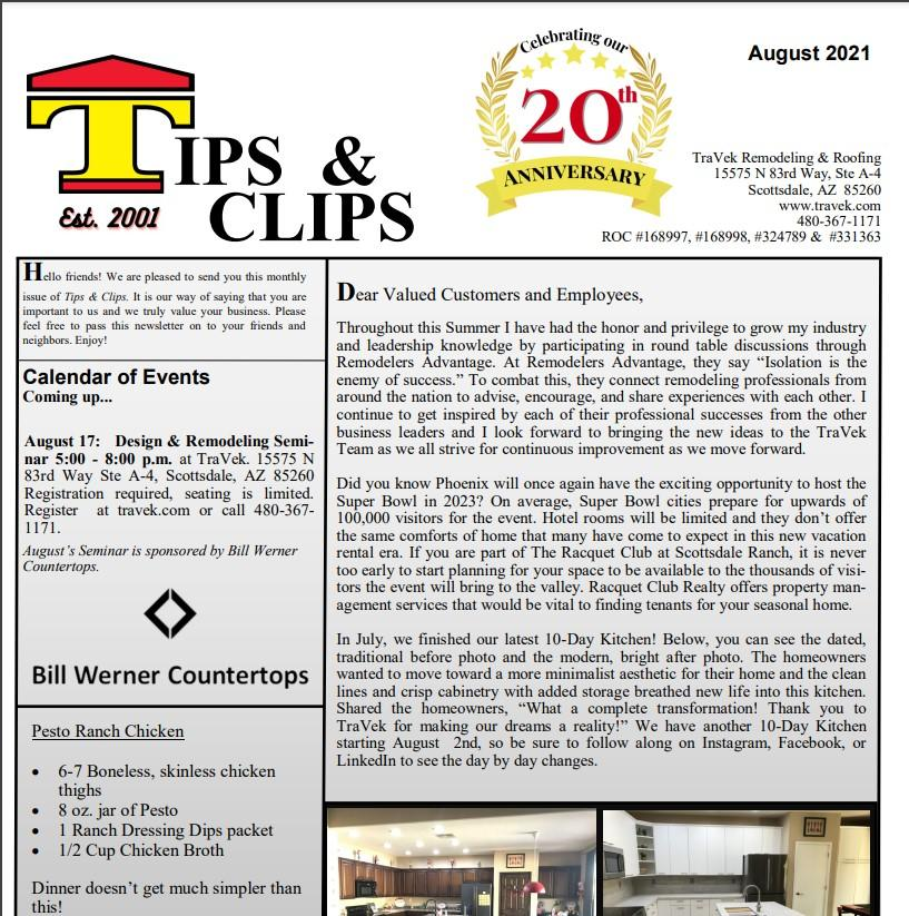 TraVek Inc Tips and Clips Newsletter August 2021