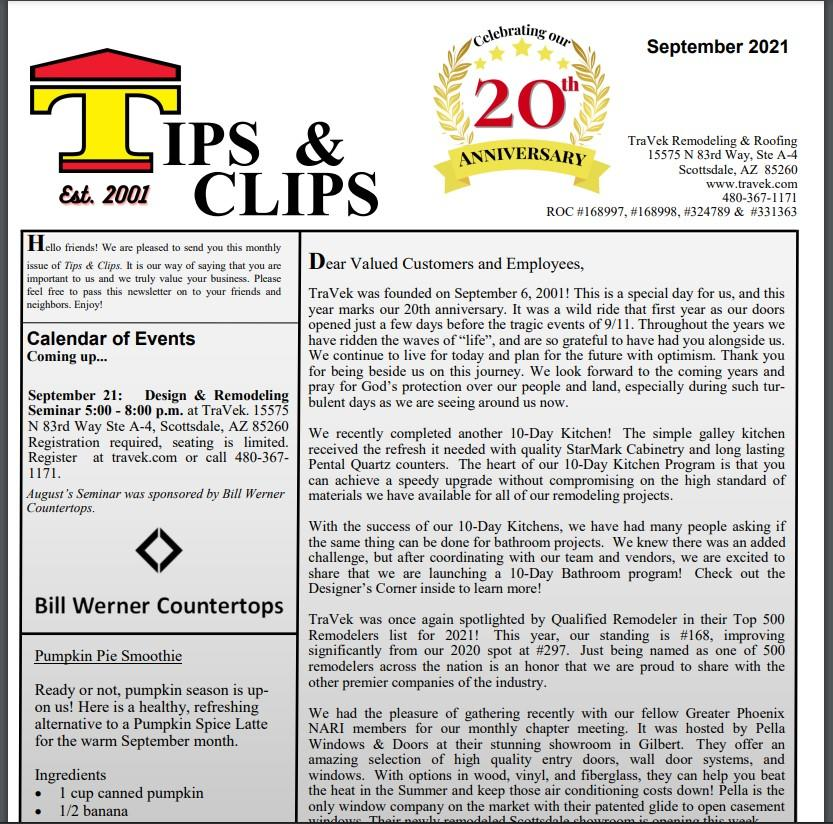 TraVek Inc Tips and Clips Newsletter September 2021