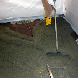 Pouring a concrete slab floor