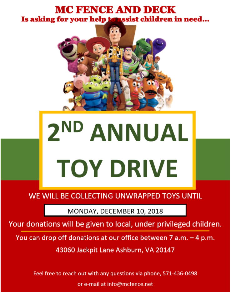 2nd Annual MC Fence & Deck Toy Drive!