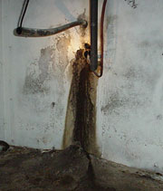 A Pipe Penetration in Warren Landing basement Later Repaired with a Urethane Seal