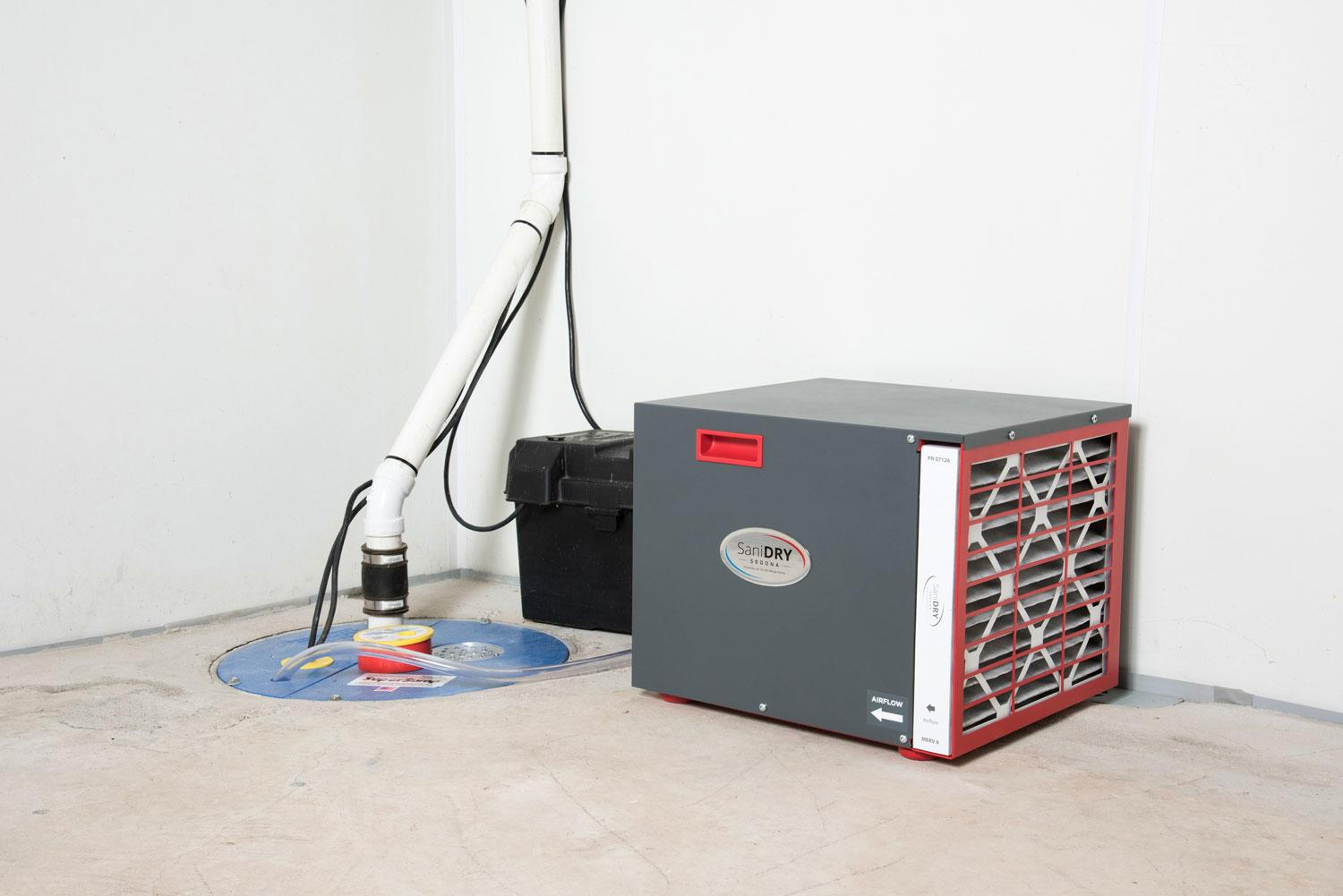 Waterproofing system, including professional dehumidifier