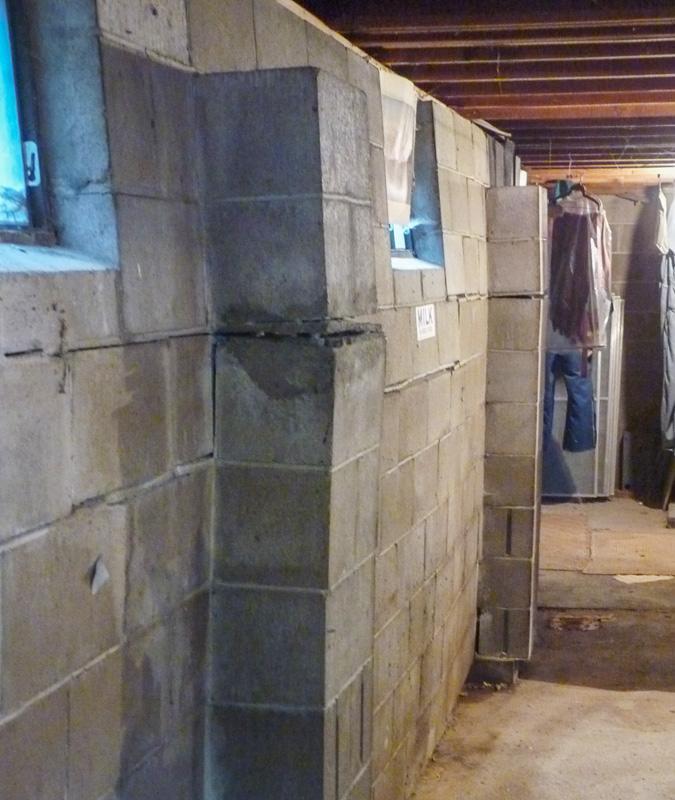 Bowing basement block wall