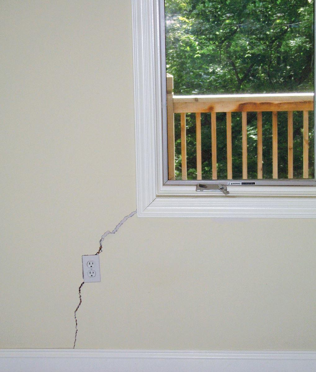 Diagonal drywall crack