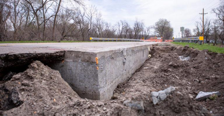 low density cellular concrete supporting flood damaged road