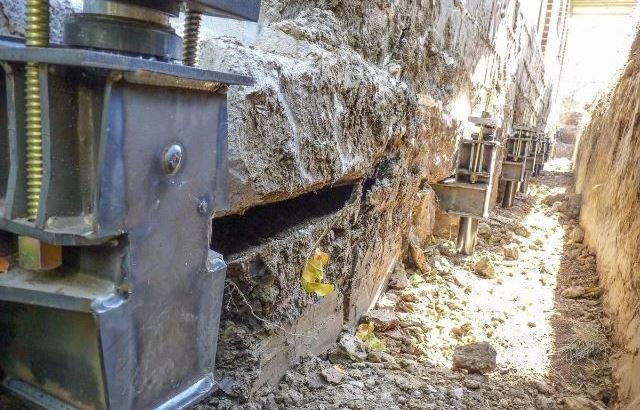 Garage Foundation Settlement Repaired with Piers