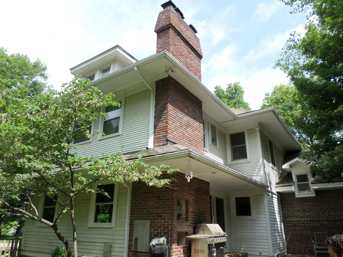 Foundation Piering Stabilized Leaning Chimney on Overland Park, KS Home