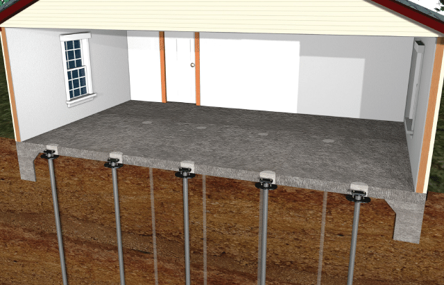 Warrantied Piering Solutions for Sinking Foundation Slab Floors