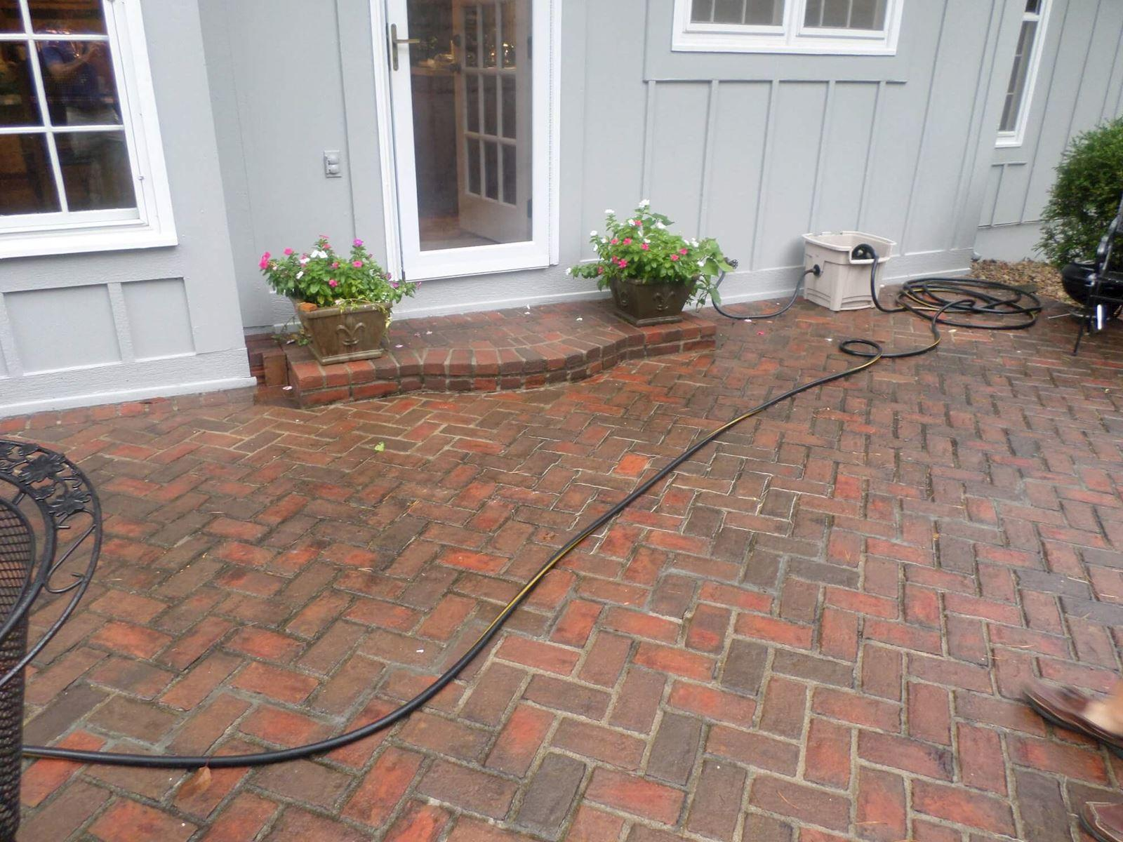 Settling Back Patio in Overland Park, KS Lifted With Polyjacking