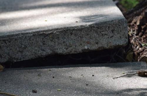 Uneven sidewalk slabs