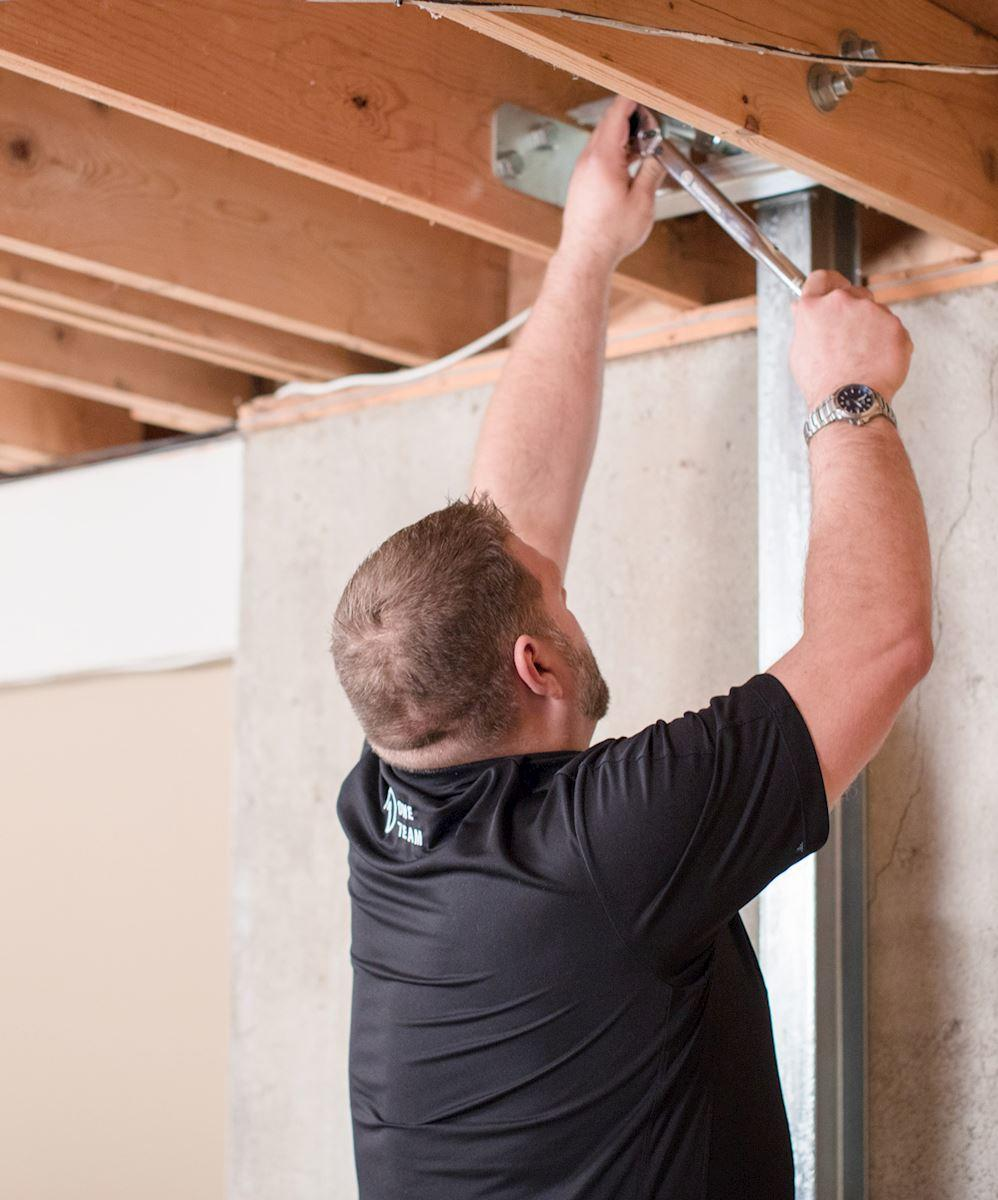Power brace wall support being installed