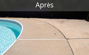 Pour soulever du béton affaissé.L'injection de mousse PolyLevel<sup>MD</sup> expansible sous un trottoir de piscine affaissé relèvera le béton au bon niveau tout en consolidant le sol afin que le problème ne se reproduise pas.
