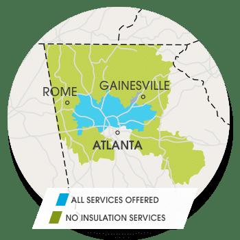 Insulation Service Area Map - Atlanta, GA