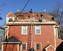 Our team working on a historic home