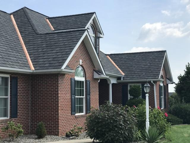 Copper Flashing on a Brick Home