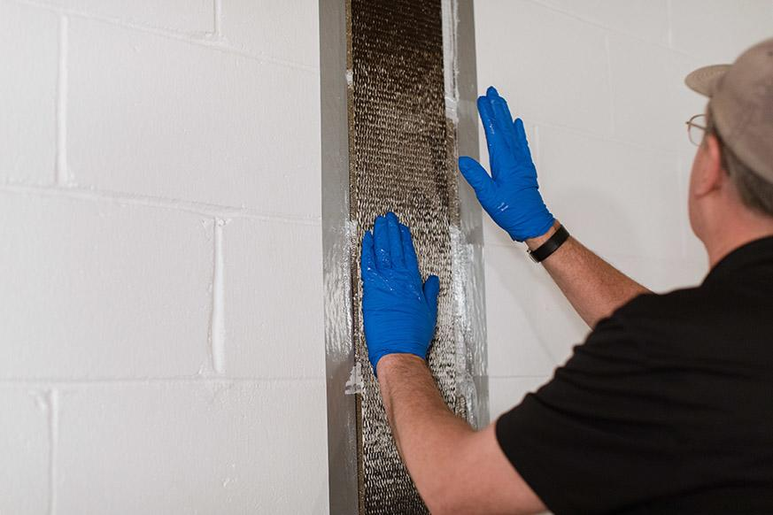CarbonArmor® Strip applied to wall in Bismark