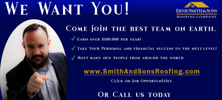 Ernie Smith & Sons Roofing is now hiring