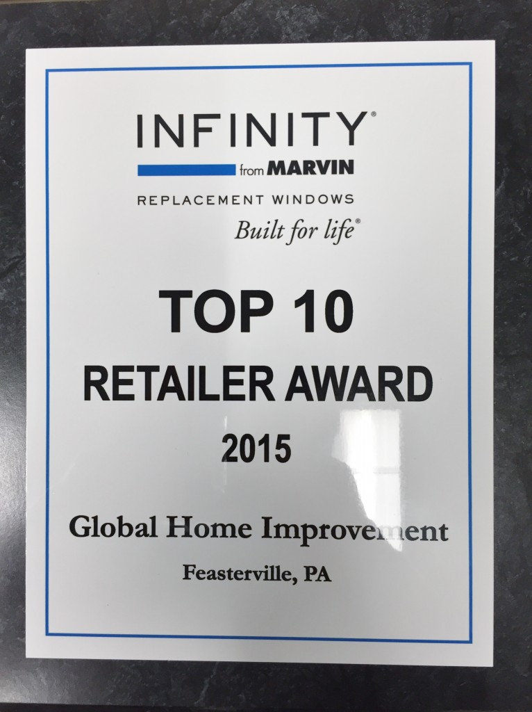Global Home Improvement Recognized as a Top 10 National Dealer for Infinity...