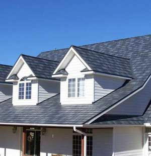 Home with steel slate roof