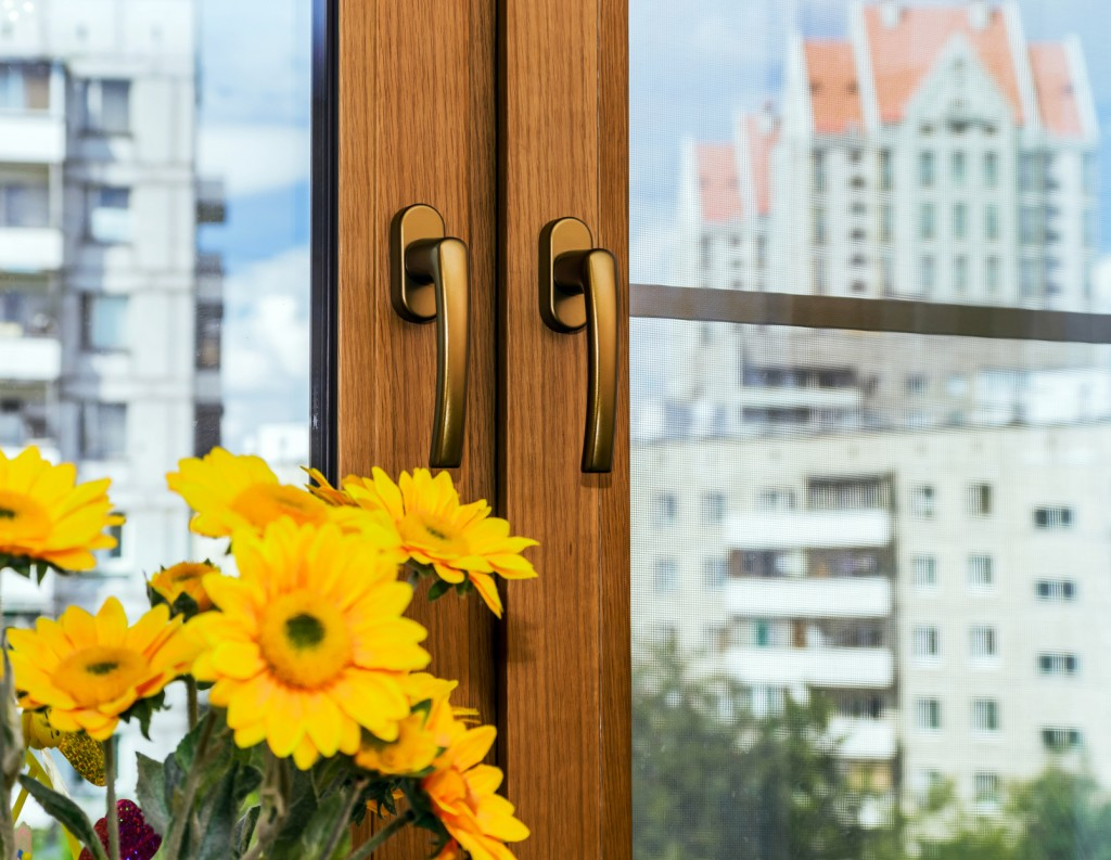 Oak veneer on the new window
