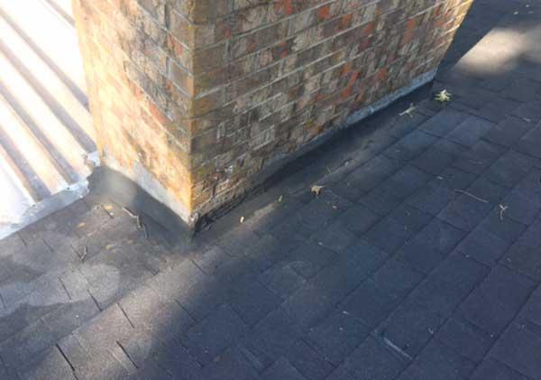 Damaged flashing on chimney
