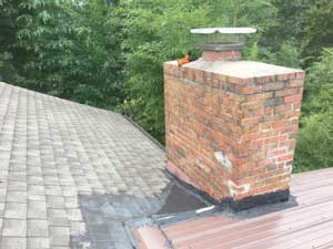 Damaged flashing around chimney