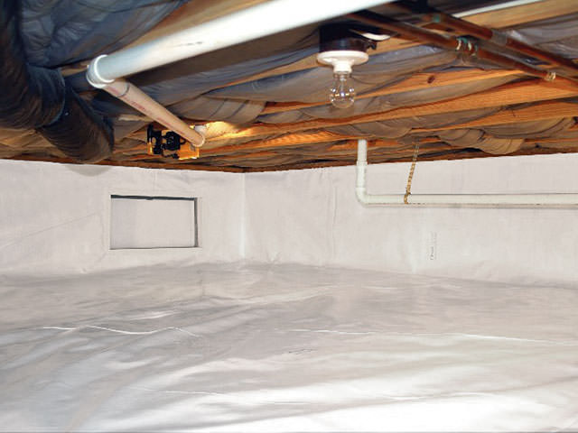CleanSpace crawl space vapor barrier and insulation in Halethorpe, Baltimore County.