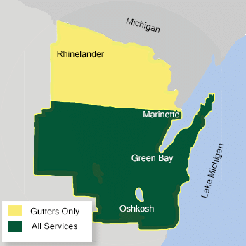 Map of LeafGuard by Keeney Home Services service area
