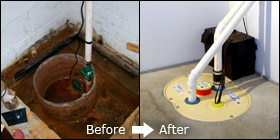 old sump pump and newly installed sump pump in West Vancouver