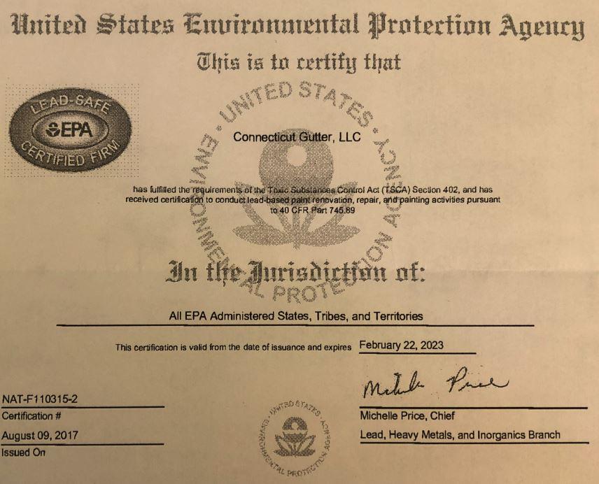 EPA Lead-Safe Certified Firm Certificate